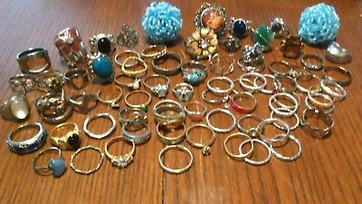 Do You Need Rings? Cuz I Got Rings ! Lot of 74 Vintage Rings Estate Sale Jewelry