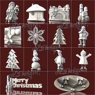 14 3D STL Models Christmas pack for CNC Router Carving Machine  Artcam aspire