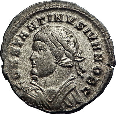 CONSTANTINE II Jr Constantine I Son Ancient Silvered Roman Coin Camp Gate i74154