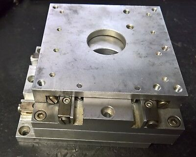 """Micrometer stage 4"""" x 4"""" x ~2"""" high, no micrometers, from inspection microscope"""