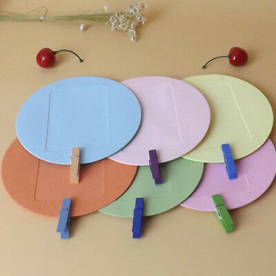 Round Square Wall Photo DIY Picture Album Hanging Rope Clip Paper Frame Decor G