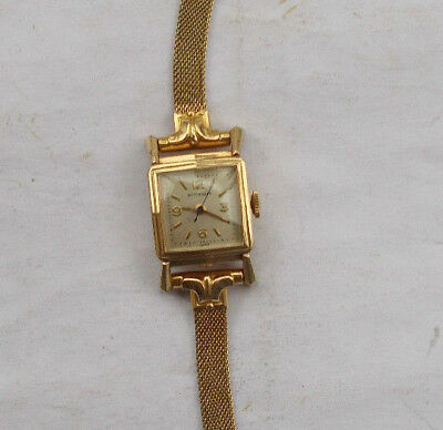RARE Vintage Antique Wittnauer Wind Up Gold Filled Watch Wristwatch Swiss LOOK