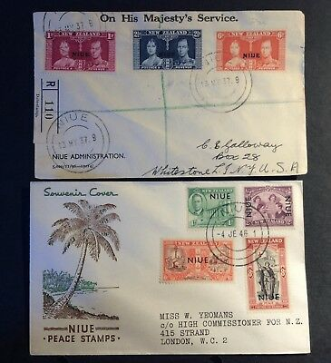 NIUE 1927/1946 2 x REGISTERED LETTERS /FDC's