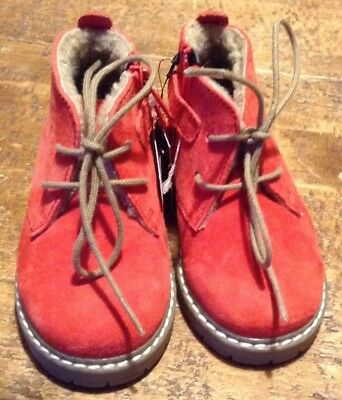 Next Baby Boy/Girl Leather Boots, UK Size 4, Red, Lace-ups, BNWT, Orig. £28