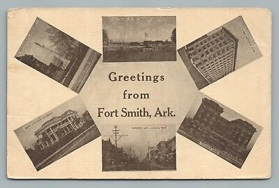 Greetings FORT SMITH Arkansas—Multiview Antique Postcard—Confederate Monument