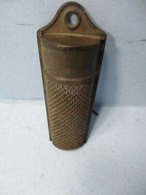 Old Antique Vtg Ca 1890s Hand Held Tin Nutmeg Grater Grinder Very Nice