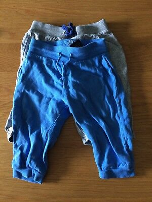 Baby Boys 2 Pairs Jogging Bottom Trousers Age 6-9 Months Grey Blue