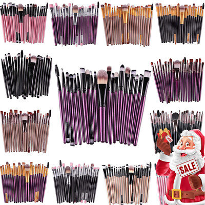 UK 20PCS MakeUP Brushes Set Eyeshadow Eyeliner Powder Foundation Blusher Tools