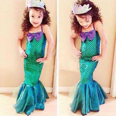 Kids Ariel Little Mermaid Set Girl Princess Dress Party Cosplay Costume Outfi ZE