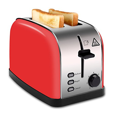 MADETEC 2 Slice Wide Slot Toaster Red Brushed Stainless Steel with Removable 7