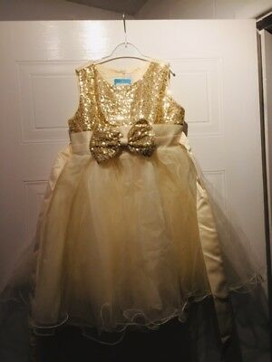 Girls Gold Dress Sequins Sparkly Perfect For Christmas 120cm Age 5-6