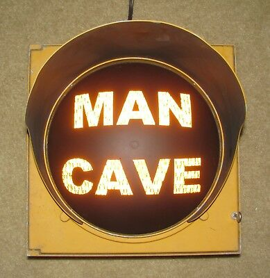 "12"" MAN CAVE Traffic Signal Light Yellow lens cap visor #C"