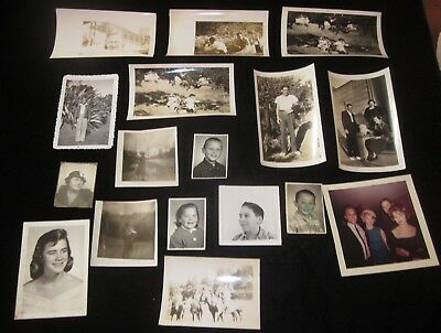 Lot of 17 vintage black and & white photos family kids child clothes old rare