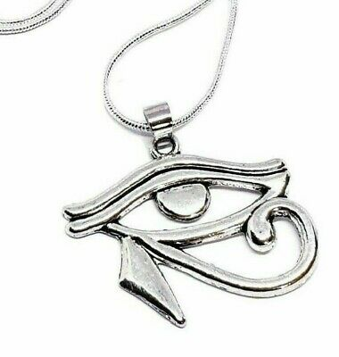 """Eye of Horus Pendant Silver Snake 20"""" Chain Necklace Egyptian Protect Jewellery"""