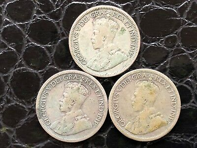 Lot of 3, Canadian Silver Dimes, 80% SILVER, King George V
