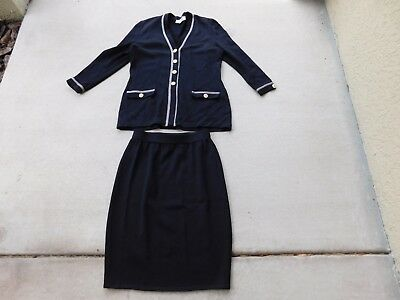 St. John Knit  by Marie Gray Black 2 piece jacket and skirt size 8