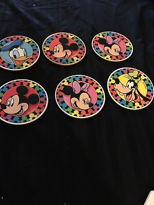 Disney Parks Collectible Mickey & Friend Colorful Coasters Set Of 6 NWOB