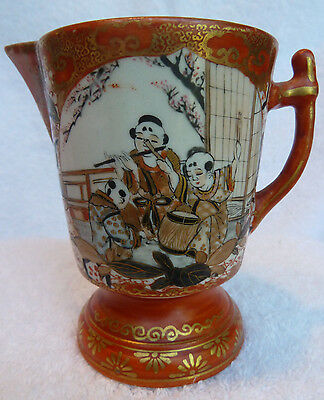 Antique Japanese Kutani Pitcher / Porcelain / Musicians, Flowers, Birds / Fine