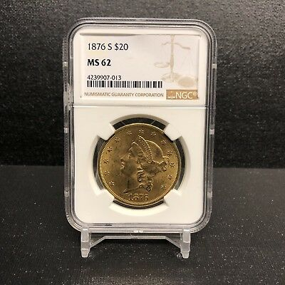 1876-S $20 Type 2 Gold Double Eagle NGC MS62 - Uncirculated San Francisco Mint