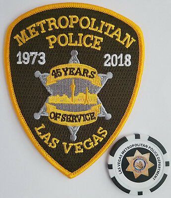 LAS VEGAS METROPOLITAN POLICE 45th ANNIVERSARY PATCH & LVMPD POKER COIN/CHIP