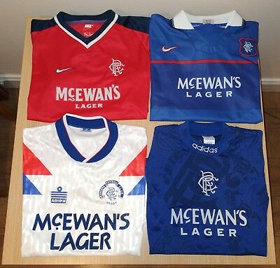 Vintage Glasgow Rangers Home & Away Shirts Tops Strips