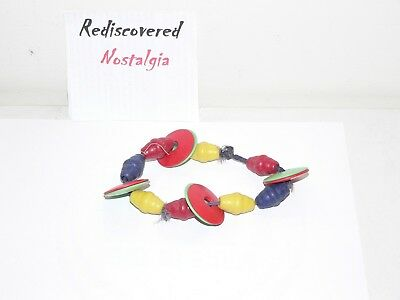 Early red green & yellow vintage Art Deco? antique bracelet