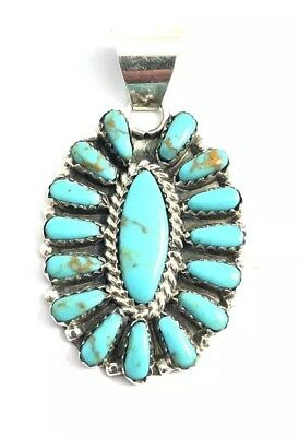 Native American Sterling Silver Navajo Handmade Turquoise Cluster Pendant