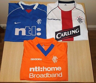 Vintage Glasgow Rangers Home & Away Shirts Strips Tops