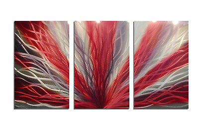 Abstract Metal Wall Art- Contemporary Modern Decor Original Radiance Red 47