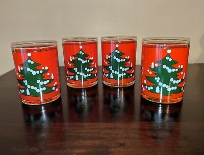 4 Waechtersbach Christmas Tree Red Germany 12 Oz Tumblers - Double Old Fashion