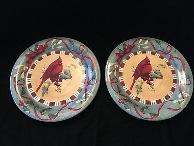 Lenox WINTER GREETINGS EVERYDAY Set of 2 Dinner Plates-Cardinal-Exc Condition