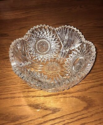 Fine Antique AMERICAN BRILLIANT Cut Crystal Starburst bowl