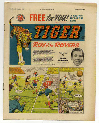 Tiger 29th Oct 1960 (Olac the Gladiator, Roy of the Rovers, Jet-Ace Logan)