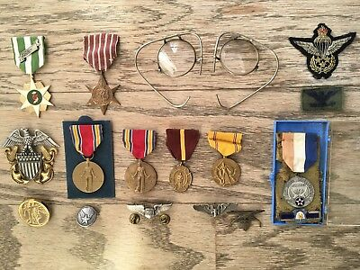 WW2 Medals Ribbons Button Pin Glasses - Vintage  Lot