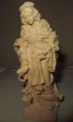 Finely Hand Carved Wooden Maiden Statue Holding Bread And Rolls, Water Jug