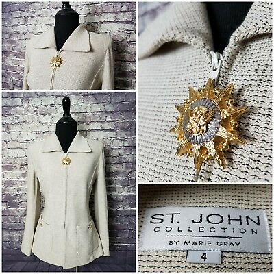 Exc Cond St John By Marie Gray Women's 4 Gold Silver Medallion Full Zip Jacket