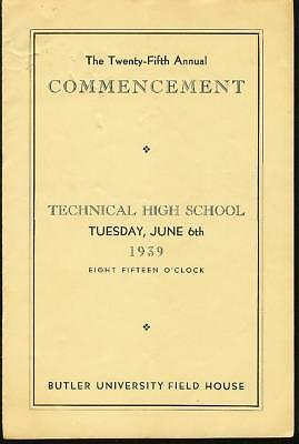 Vintage Arsenal Technical High School 25th Annual Commencement Program June 1939