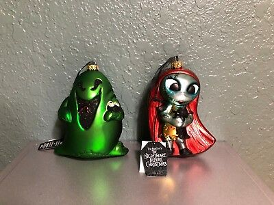 Disney Parks Sally & Oogie Boogie Nightmare Before Christmas Glass Ornament Set