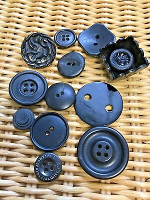 Vintage Lot of 12 Black Early Plastic Buttons Different Shapes/ Sizes 1.5 -3.4cm