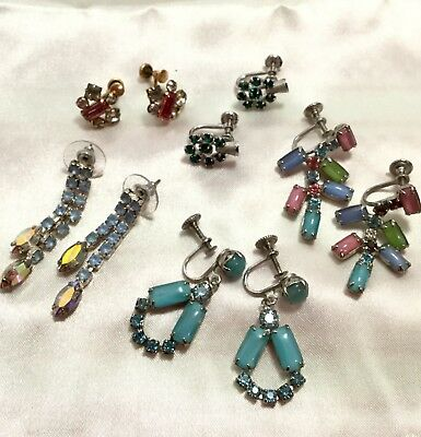 Vintage Now Estate Find Jewelry Lot Junk Drawer Rhinestones Sterling Gf Earrings