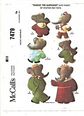 "Vintage -1964 - Set Of 6 -""babar The Elephant""& Family Stuffed Toy - Pattern -#4"