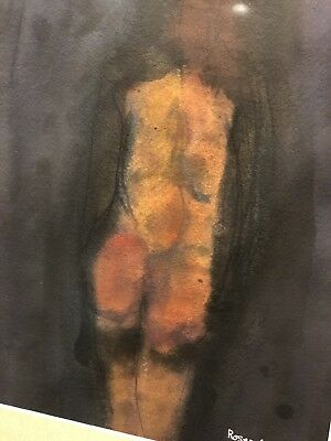 Ralph M Rosenborg Abstract Expressionism Figure Study Signed Watercolor 1964 Nyc