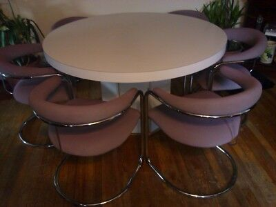 Six Mid Century Anton Lorenz Cantilever Chairs and dining/conference table