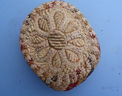 Middle Eastern Kufi Cap, Profusely Embroidered, Vintage