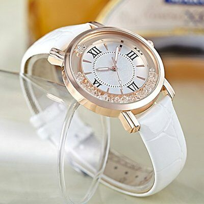 Women Watches Thin Leather Strap Ladies Casual Quartz Watch With Rhinestone BE