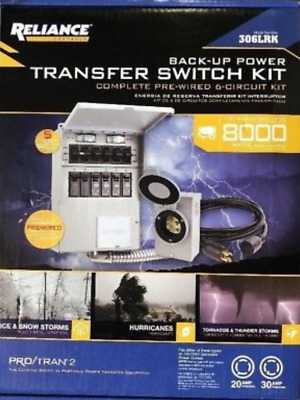 Reliance Back-Up Power 6-Circuit Complete Transfer Switch Kit 306LRK New Sealed!