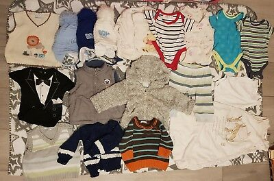 Baby boy winter clothes bundle 20 items 0-3 months brands M&S, Cherokee, Gap etc