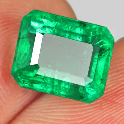 2.7Ct 100% Natural Awesome Deep Green Zambia Emerald Cut Collection MQM74