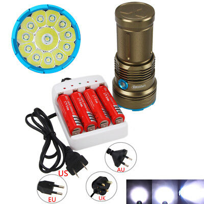 Rechargeable 50000LM 12 XML T6 LED Flashlight Torch Hunting Camping Lamp 18650