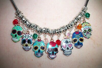 """19"""" SUGAR SKULL CHARM NECKLACE, DAY OF THE DEAD SKULL NECKLACE, Snake Chain, NEW"""